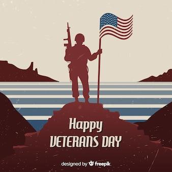 Fond de vétéran avec soldat et drapeau