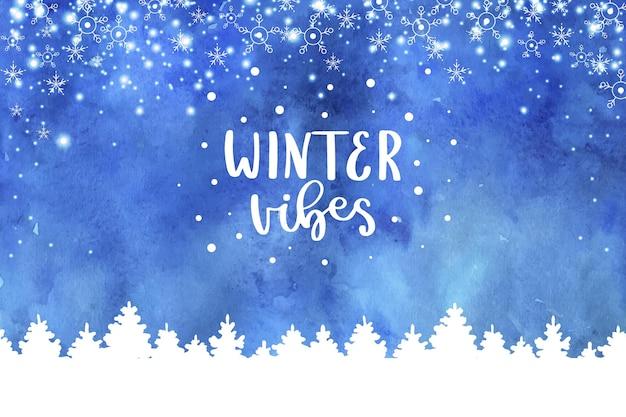Fond de vibes d'hiver à l'aquarelle
