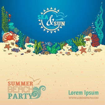 Fond de vie de mer d'été. coquilles, algues, poissons, étoiles de mer, méduses, moules et crabe.