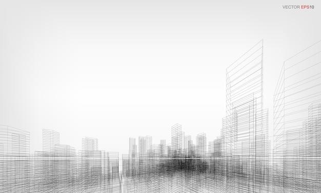 Fond de ville filaire. rendu 3d en perspective du bâtiment filaire. illustration vectorielle.