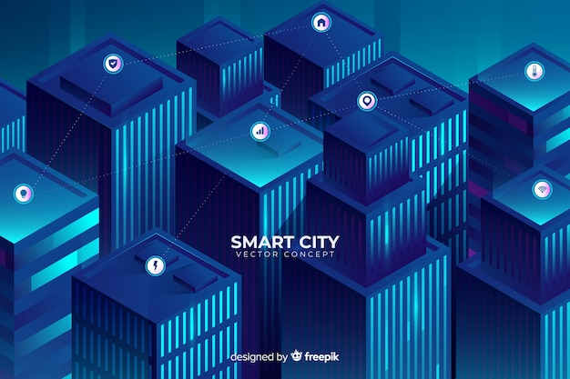 Fond de ville futuriste isométrique