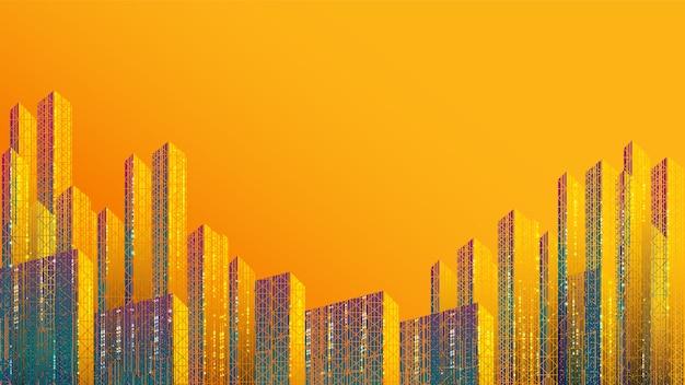 Fond de ville intelligente, communication, réseau, connexion. design coloré futuriste.