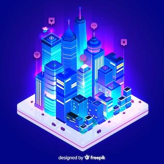 Fond de ville intelligente isométrique