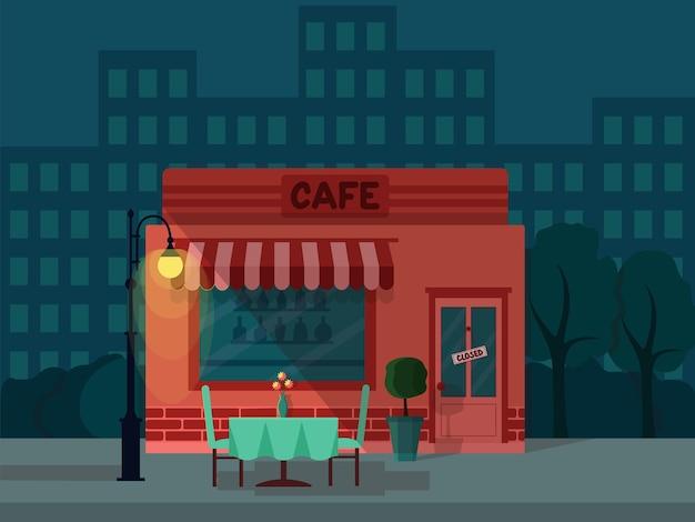 Fond avec ville de nuit et café fermé, illustration vectorielle