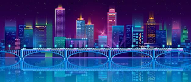 Fond avec la ville de nuit dans les néons