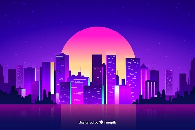 Fond de ville de nuit futuriste