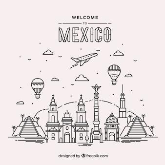 Fond de ville plat mexico