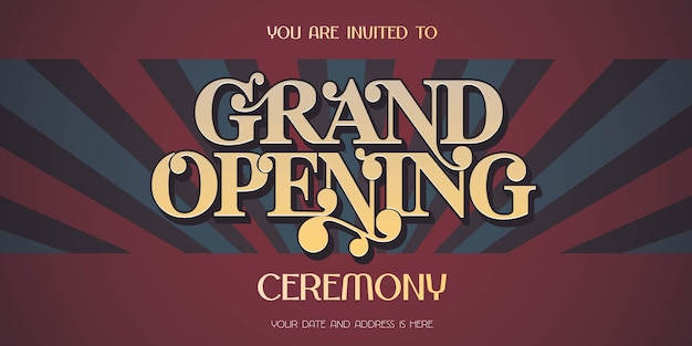 Fond vintage avec bannière de signe d'ouverture, illustration, carte d'invitation. flyer modèle, inviter pour la cérémonie d'ouverture