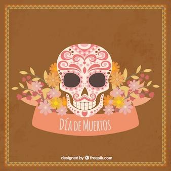 Fond vintage de crâne mexicain avec décoration florale