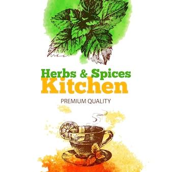 Fond vintage avec croquis dessinés à la main et herbes et épices de cuisine à l'aquarelle. conception de menus