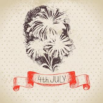 Fond vintage du 4 juillet. conception de croquis dessinés à la main pour le jour de l'indépendance de l'amérique