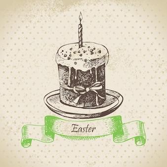 Fond vintage avec gâteau de pâques. illustration dessinée à la main