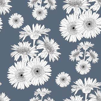 Fond vintage de modèle sans couture avec des fleurs de gerbera florales dessinées à la main