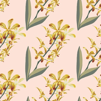 Fond vintage de modèle sans couture avec des fleurs d'orchidées florales dessinées à la main