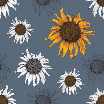 Fond vintage de modèle sans couture avec la main dessiner des fleurs de tournesol florales