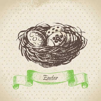 Fond vintage avec des oeufs de pâques et nid. illustration dessinée à la main