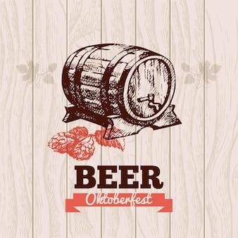 Fond vintage de l'oktoberfest. illustration dessinée à la main de bière. conception de menus