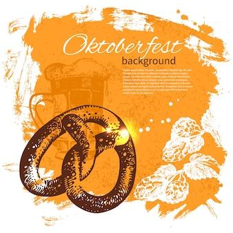 Fond vintage de l'oktoberfest. illustration dessinée à la main. design rétro splash blob avec de la bière