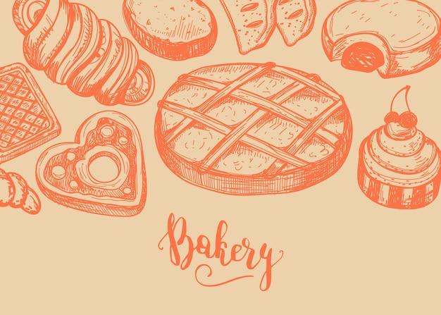 Fond vintage de produits de boulangerie maison