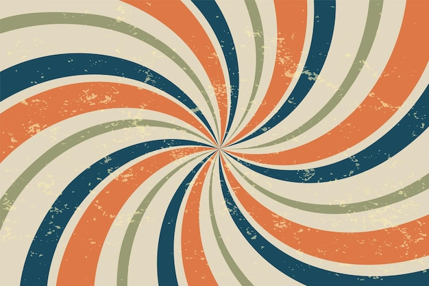 Fond vintage de rayons rétro en spirale