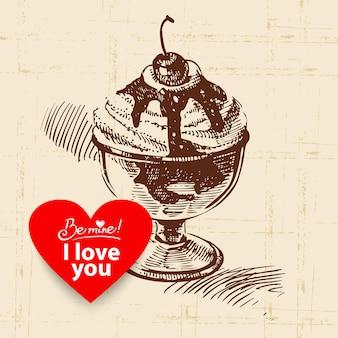 Fond vintage de la saint-valentin. illustration dessinée à la main avec bannière en forme de coeur. crème glacée