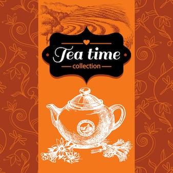 Fond vintage de thé. illustration de croquis dessinés à la main. conception de menus et d'emballages