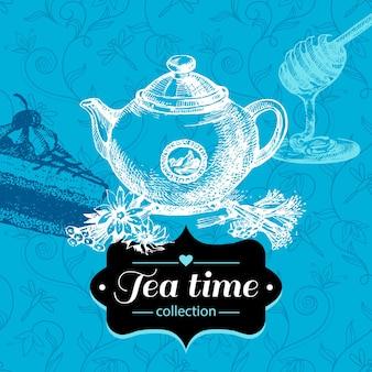 Fond vintage de thé. illustration de croquis dessinés à la main. conception de menus