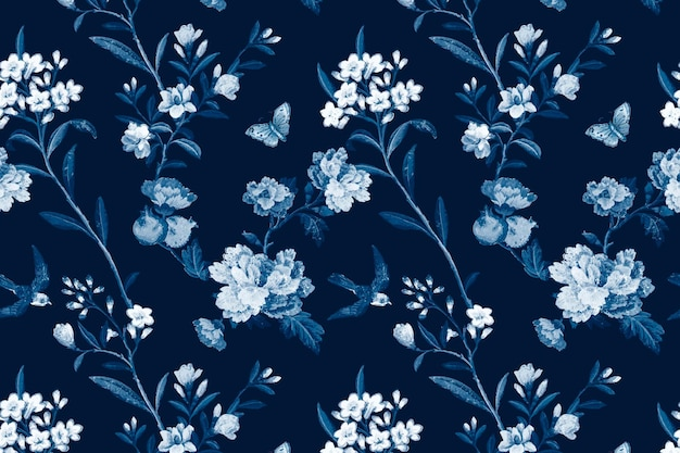 Fond vintage de vecteur bleu motif botanique