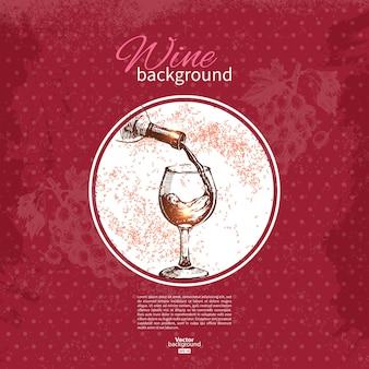 Fond vintage de vin. illustration de croquis dessinés à la main. conception de menus
