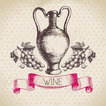 Fond vintage de vin. illustration de croquis dessinés à la main