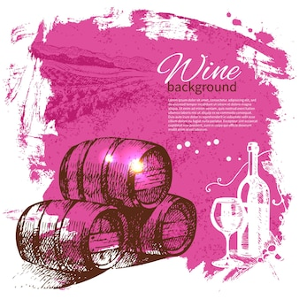 Fond vintage de vin. illustration dessinée à la main. conception rétro de goutte d'éclaboussure