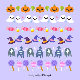 Fond violet avec collection de frontière d'halloween