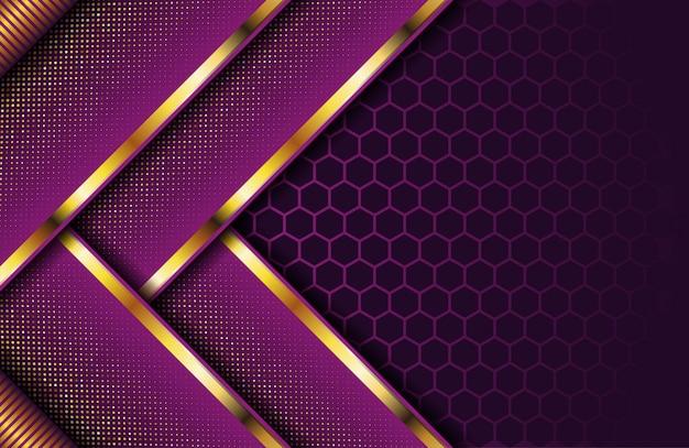 Fond violet foncé de luxe avec bande dorée et paillettes