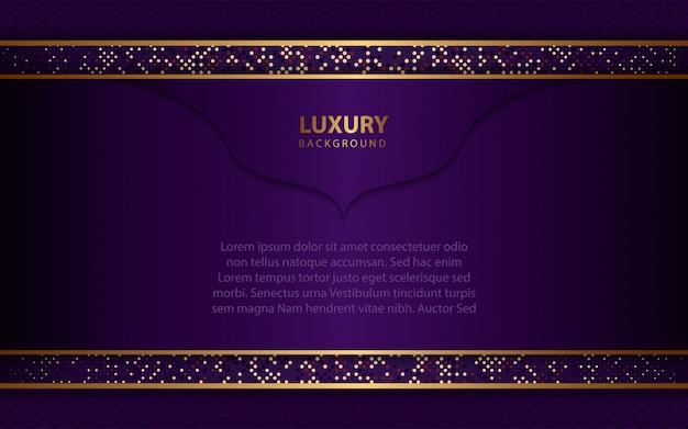 Fond violet foncé de luxe avec décoration dorée