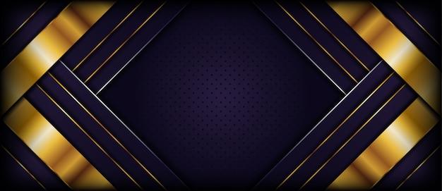 Fond violet foncé de luxe avec des formes abstraites dorées