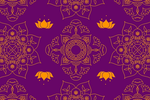 Fond violet mandala indien diwali