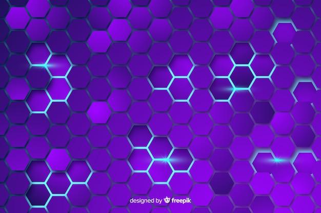 Fond violet en nid d'abeilles technologique