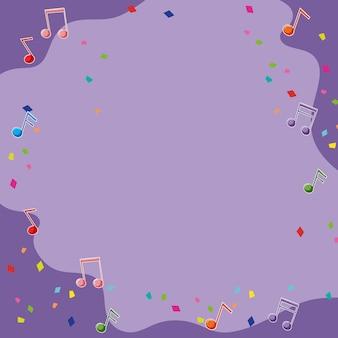 Fond violet avec des notes de musique