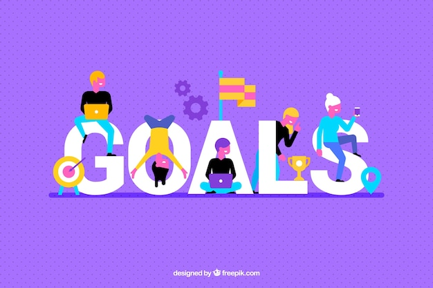 Fond violet avec des objectifs mot