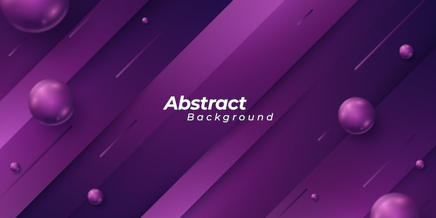 Fond violet avec des pièces de forme de style 3d et des boules abstraites étincelantes.
