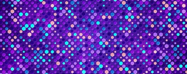 Fond violet texturé avec un mélange de formes colorées.