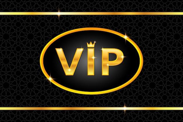 Fond vip avec texte doré brillant avec couronne et cadre sur motif arabe noir. conception de modèle de bannière ou d'invitation haut de gamme et de luxe. illustration vectorielle.