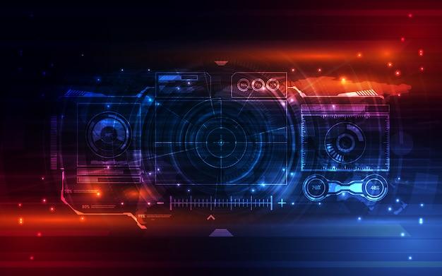 Fond virtuel de système abstrait écran futuriste