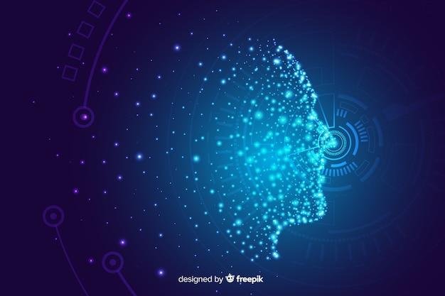 Fond de visage numérique brillant de particules