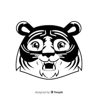 Fond de visage de tigre de dessin animé