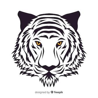 Fond de visage de tigre dessiné à la main