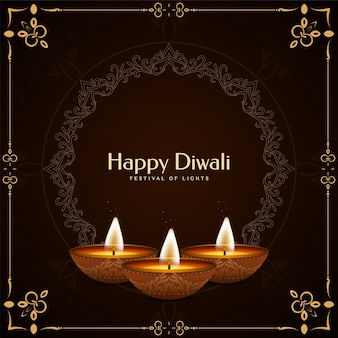 Fond de voeux de cadre ethnique joyeux diwali festival