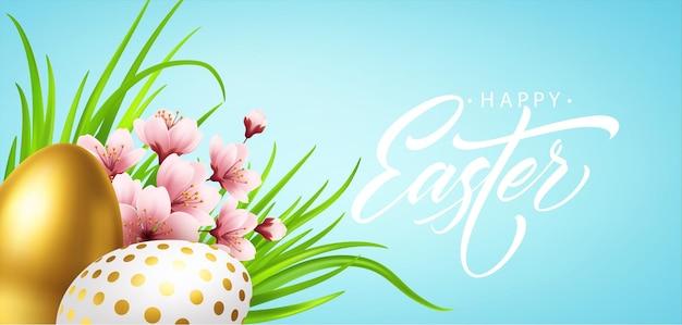 Fond de voeux joyeux pâques avec des oeufs de pâques réalistes et des fleurs de printemps. illustration vectorielle eps10