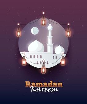 Fond de voeux ramadan kareem. coloré pour la carte postale de voeux, la bannière web et le matériel d'impression. illustration.