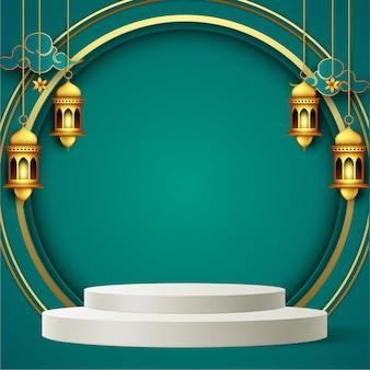 Fond de voeux ramadan kareem en style papier avec podium